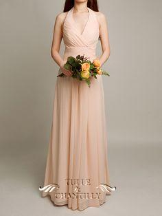Bright Peach Orange Halter Neck Plicated Bridesmaid Dress