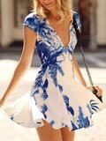 Floral Dress Spring - White Cap Sleeve V Neck Floral Print Dress - Crystalline