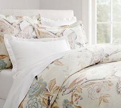 Everly Peacock Duvet Cover & Sham #potterybarn.  Traditional but kind of beachy at the same time.