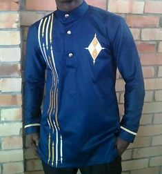 African wear/embroidery designed shirt/Mens by PageGermanyShop African Wear Styles For Men, African Shirts For Men, African Dresses Men, African Clothing For Men, African Attire, African Style, African Inspired Fashion, African Men Fashion, Ankara Fashion