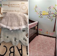 We love having our products available @NaturalSleepShop. Check out this new look with @LorenaCanals handmade, machine washable cotton rugs in beautiful colors and patterns. The pink Hippy looks so adorable with the Carlisle custom nursery set.