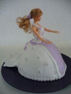 barbie doll cake - fondant dress purple/white