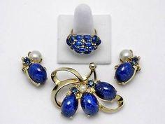 Schiaparelli Vintage Lapis Lazuli Glass Cabochon Brooch Earrings Ring Set | eBay ON SALE NOW - FREE DOMESTIC SHIPPING