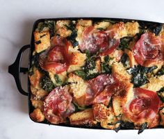 Parmesan Bread Pudding with Broccoli Rabe and Pancetta.