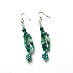 Green Freeform Earrings Green Beaded Earrings by playnwithbeads