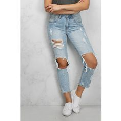 Rare Blue Ripped Boyfriend Jeans (300 DKK) ❤ liked on Polyvore featuring jeans, blue jeans, destroyed jeans, destructed boyfriend jeans, loose fit boyfriend jeans and boyfriend fit jeans