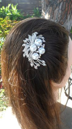 Bridal rhinestone pearl hair comb bridal hair by TheBellaCouture, $19.50