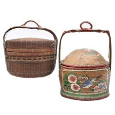 Hand Painted Woven Rice Baskets : EBTH