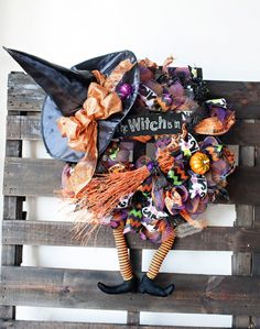 XL Halloween Witch Mesh Wreath, Deco Mesh Halloween Wreath, Witch Hat with Legs…