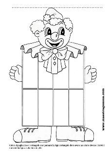 Schede figure geometriche Clowns, Clown Crafts, Preschool Crafts, Art For Kids, Coloring Pages, Carnival, Arts And Crafts, Snoopy, Clip Art