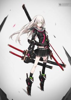 Anime picture with original (neco) long hair single tall image looking at viewer breasts simple background fringe green eyes white hair standing signed hair between eyes pleated skirt full body outstretched arm high heels text sheathed Anime Katana, Anime Weapons, Fantasy Weapons, Female Character Design, Character Design Inspiration, Character Concept, Character Art, Manga Anime, Manga Art