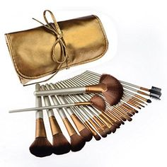 Makeup Brushes, PeleusTech Cosmetics Brushes Set Synthetic Kabuki Professional Brush Kit Cream Contour Face Powder, Foundation, Eyeshadow, Lip Brushes with PU Leather Case-Golden *** Check out the image by visiting the link. (This is an affiliate link) Cheap Makeup Brushes Set, Makeup Brush Set, Makeup Sets, Face Makeup, It Cosmetics Brushes, Lip Brushes, Hight Light, Golden Makeup, Face Contouring