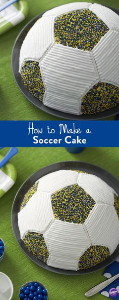 How to Make a Soccer Cake - Is your Dad a soccer fan? Then you'll score a major goal when you bake this soccer ball cake for him for Father's Day! Use colorful nonpareils to give this soccer ball cake color and texture.