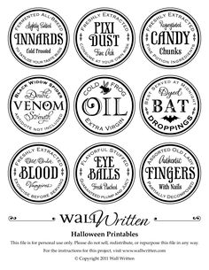 Printable Apothecary labels for Halloween | Apothecaries and Witches
