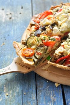 Roasted vegetable tart with feta and ricotta