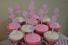 Ballerina Birthday Party 12 Cupcake Toppers Picks Tags by MadeeBee, $7.00