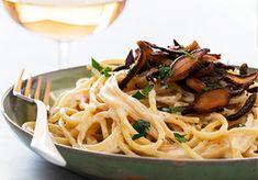 Pasta Carbonara with Shiitake Bacon   Chloe Coscarelli - Vegan Chef