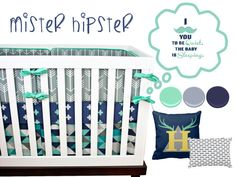 Mister Hipster Crib Bedding, Baby Bedding, Navy, Mint, Turquoise, Gray Arrows, Tribal, Triangles, Antlers, Moustache Baby Boy Nursery