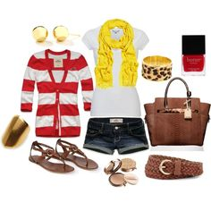 Red&White Stripes with a Pop Of Yellow :)
