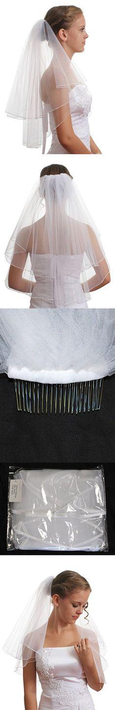 SparklyCrystal Women's Bridal Wedding Veil 2 T Pencil Edge Shoulder Length VE5A1