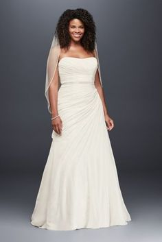 Crinkle Chiffon Draped Plus Size Wedding Dress 9V3540