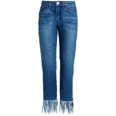 Denim Fringe Hem Jeans by New Revival ($114) ❤ liked on Polyvore featuring jeans, bottoms, fringe-hem jeans, straight-leg jeans, 5 pocket jeans, denim jeans and blue jeans