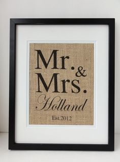 Burlap Art, Personalized Mr and Mrs, Gift for Weddings, Engagements, Showers, Announcement, Print or Sign. $20.00, via Etsy.