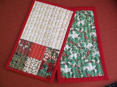 Christmas mug rugs set of two quilted rugs Christmas Mug Rugs, Etsy Christmas, Red Berries, Red Fabric, Different Fabrics, Bright Green, Red Green, Quilt Patterns, Green Cream
