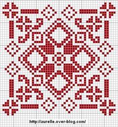 Red and white biscornu chart