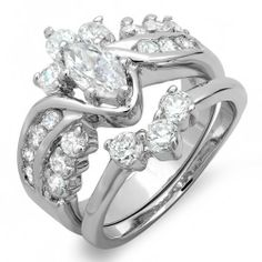 2.15 CT Fancy Cluster Ladies Marquise and Round Cubic Zirconia CZ Wedding Bridal Engagement Ring with Matching Band Set (Available in size 6, 7, 8) DazzlingRock Collection. $24.99. Platinum Plated base metal. 9 mm center stone. Weighs approximately 6.4 grams. Cubic Zirconia Color / Clarity : White/Clean. Get most bang for your buck