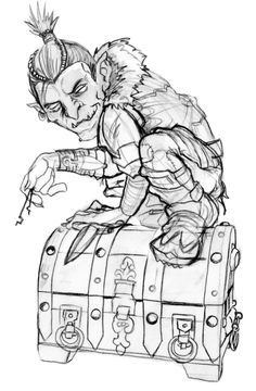 An early sketch of the Half Goblin from Dungeon Roll.  On Kickstarter:  http://kck.st/X8cDsw