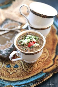 Lentil Soup with Goat Cheese. This Lentil Soup is Brilliant with Goat Cheese and a drizzle of Aged Balsamic Vinegar. Aged Balsamic Vinegar, Goat Cheese Recipes, Lentil Soup Recipes, Legumes Recipe, Beautiful Soup, Easy Family Meals, Family Recipes, Soup And Sandwich, Kitchens