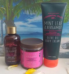 bath and body works mint leaf & bergamot body scrub body oil and body cream set #BathBodyWorks #ebay #Deals #beauty #gift #fragrances #holidays
