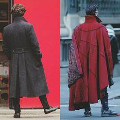 """wtsnhlms: """"From Sherlock Holmes to Doctor Strange. """" I love Sherlock's cape, and Dr. Strange's coat. Sherlock Cumberbatch, Benedict Sherlock, Sherlock John, Benedict Cumberbatch, Sherlock Holmes, Marvel Funny, Marvel Avengers, Dr Strange Costume, Dc Doctor"""
