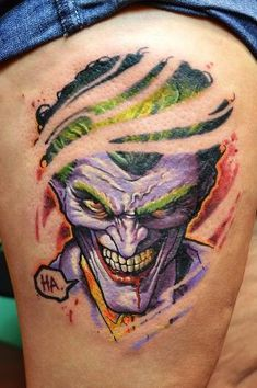 This magnificent Joker tattoo was done by Hungarian tattoo artist Peter Tikos. by elvira