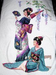 Geisha cross stitch; did this one a few years ago, sold it for $83 on eBay.  =D