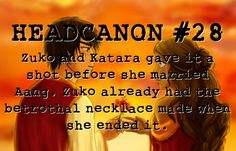 """""""Zuko and Katara gave it a shot before she married Aang. Zuko already had the betrothal necklace made when she ended it. Avatar Legend Of Aang, Korra Avatar, Team Avatar, Legend Of Korra, Avatar The Last Airbender Funny, Avatar Airbender, Zuko And Katara, Water Tribe, Avatar Series"""