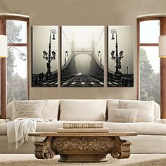 Stretched Canvas Print Art Architecture Birdge in Fog Set of 3 – USD $ 69.99