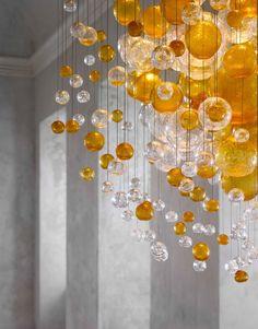 BLOWN GLASS CHANDELIER BUBBLES IN SPACE LIGHTING SCULPTURES COLLECTION BY LASVIT   DESIGN JITKA KAMENCOVÁ SKUHRAVÁ