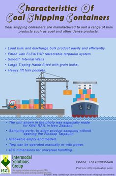 Coal shipping containers are manufactured to suit a range of bulk products such as coal and other dense products. Tarpaulin, Shipping Containers, Infographics, Infographic, Info Graphics, Visual Schedules