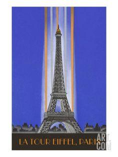 Vertically Lit Eiffel Tower Art Print at Art.com
