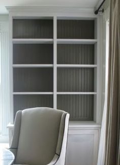 Built in bookshelves. We have built in shelves and both think painting them looks pretty.