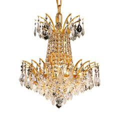 "Victoria 16"" Crystal Mini Chandelier with 4 Lights - Gold Finish and Spectra Swarovski Crystal"