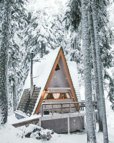 Have A style cabin Chalet Tiny House Blog, Tiny House Cabin, A Frame Cabin, A Frame House, Cabin In The Woods, Snowy Woods, Winter Cabin, Cosy Winter, Cabins And Cottages
