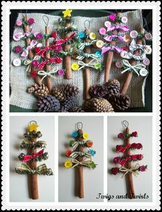 cinnamon stick christmas ornaments | ... and Twirls: Christmas in July - Cinnamon Stick Tree - Ornament #1