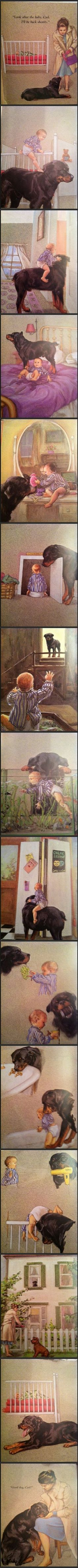 Notice the dog bread in this old story book...stop #bsl #nannydog