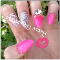 Pink stiletto ring nails