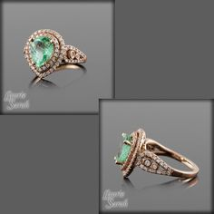 Rose Gold Ring - Mint Green Paraiba Tourmaline and Pear Shaped Diamond Halo Engagement Ring - LS2569. $4,638.75, via Etsy.