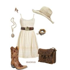 A fashion look from June 2011 featuring Old Gringo boots, Pimkie bracelets and Urban Outfitters earrings. Browse and shop related looks. Country Girl Style, Country Fashion, Country Outfits, Country Girls, Country Chic, Country Casual, Country Jam, Cowgirl Mode, Estilo Cowgirl