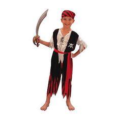 Voordelig piratenpak voor kinderen. Dit piraten kostuum voor kinderen bestaat uit een shirt, broek, riem en bandana. Carnavalskleding 2015 #carnaval